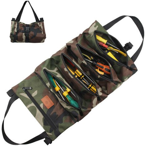 Toolbag with 5 zipped pockets, 600D Oxford Portable Tool Bag, Roll Auto Organizer Tool Tool for Electrician Plumber or Mechanic (Camouflage A)