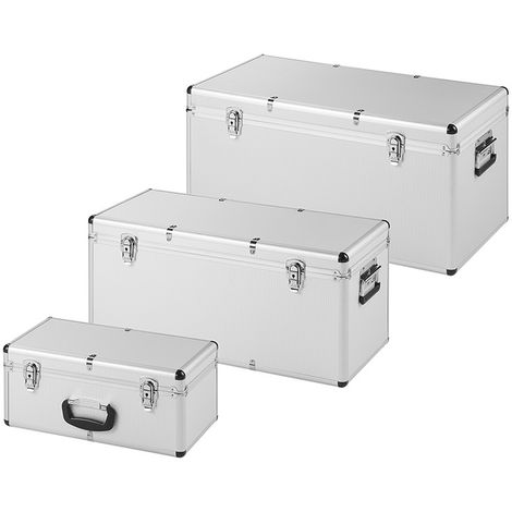 Toolboxes aluminium look set of 3 pieces