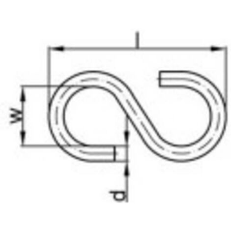 "main image of ""TOOLCRAFT 159546 Crochet en S 30 mm Acier galvanisé 100 pc(s)"""