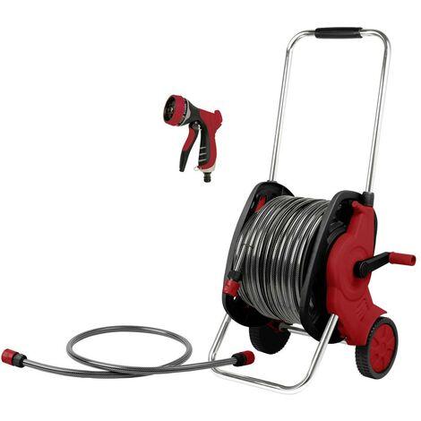 TOOLCRAFT 2302701 Enrouleur de tuyau 30 m, 13 mm (1/2) Enrouleur de tuyau darrosage sur roues 30 m