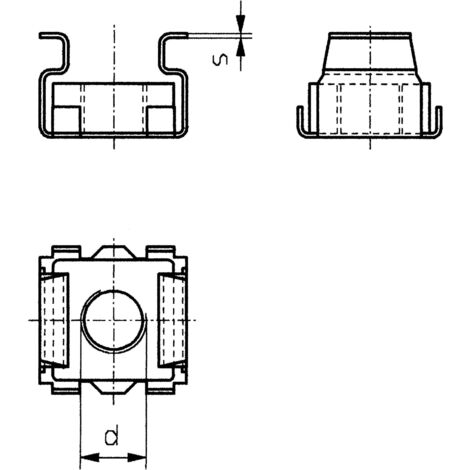 TOOLCRAFT 521835 Käfigmuttern M6 Stahl 10St. S59623