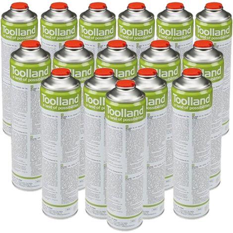 Toolland 24x cartouche de gaz universelle 600 ml pour désherbeur thermique