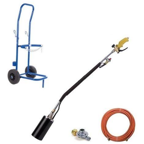 Toolland désherbeur à gaz à piézo, tuyau de gaz, régulateur de pression et chariot QT118