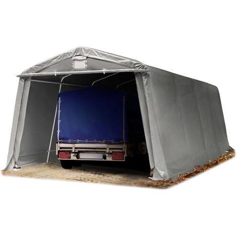 TOOLPORT 3,3 x 6,2 m Heavy Duty PVC Carport Tent Portable Garage Vehicle Shed compact Storage Shelter 100% waterproof in grey