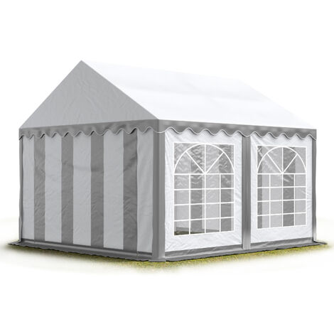 TOOLPORT 3x3 m Marquee Party Tent Heavy Duty approx. 500g/m² PVC Waterproof Tarpaulin All Year Use Wedding Event grey-white