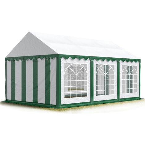 TOOLPORT 3x6 m Marquee Party Tent Heavy Duty 500g/m² PVC Waterproof Tarpaulin All Year Use Wedding Event green-white