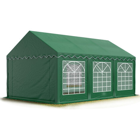 TOOLPORT 4x6 m Marquee Party Tent Heavy Duty 500g/m² PVC Waterproof Tarpaulin All Year Use Wedding Event darkgreen