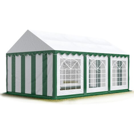 TOOLPORT 4x6 m Marquee Party Tent Heavy Duty 500g/m² PVC Waterproof Tarpaulin All Year Use Wedding Event green-white