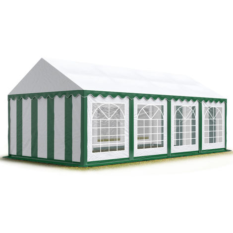 TOOLPORT 4x8 m Marquee Party Tent Heavy Duty 500g/m² PVC Waterproof Tarpaulin All Year Use Wedding Event green-white