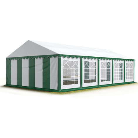 TOOLPORT 5x10 m Marquee Party Tent Heavy Duty 500g/m² PVC Waterproof Tarpaulin All Year Use Wedding Event green-white