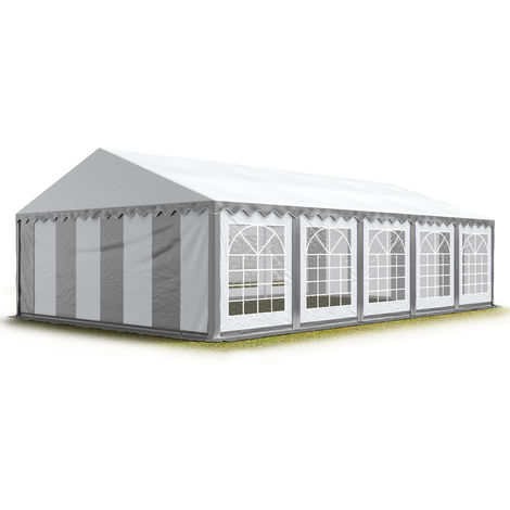 TOOLPORT 5x10 m Marquee Party Tent Heavy Duty 500g/m² PVC Waterproof Tarpaulin All Year Use Wedding Event grey-white