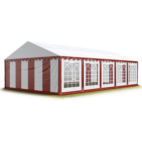 TOOLPORT 5x10 m Marquee Party Tent Heavy Duty 500g/m² PVC Waterproof Tarpaulin All Year Use Wedding Event red-white