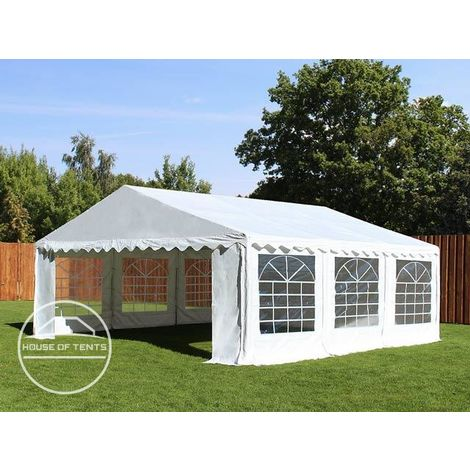 TOOLPORT 5x5 m Marquee Party Tent Heavy Duty 500g/m² PVC Waterproof Tarpaulin All Year Use Wedding Event white