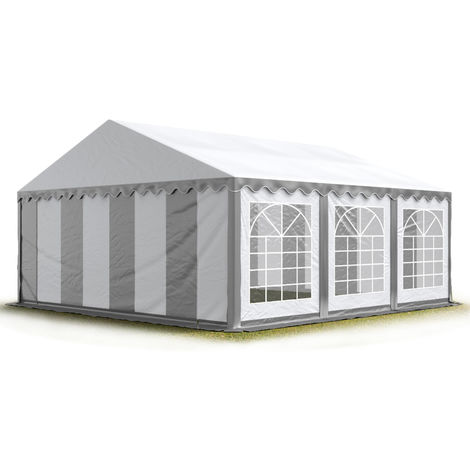 TOOLPORT 5x6 m Marquee Party Tent Heavy Duty 500g/m² PVC Waterproof Tarpaulin All Year Use Wedding Event grey-white