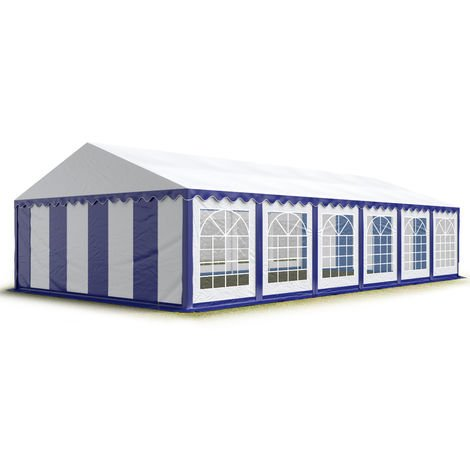 TOOLPORT 6x12 m Marquee Party Tent Heavy Duty 500g/m² PVC Waterproof Tarpaulin All Year Use Wedding Event blue-white