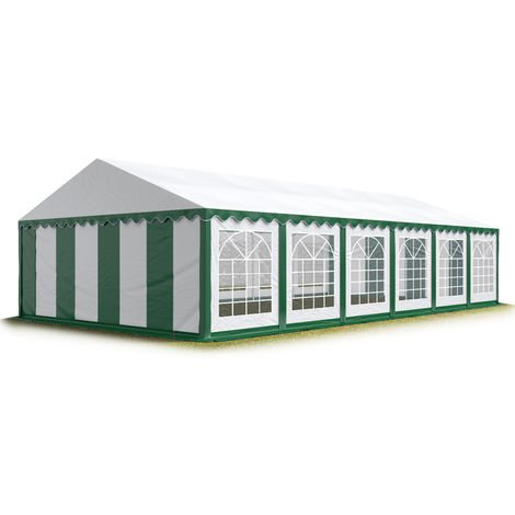 TOOLPORT 6x12 m Marquee Party Tent Heavy Duty 500g/m² PVC Waterproof Tarpaulin All Year Use Wedding Event green-white