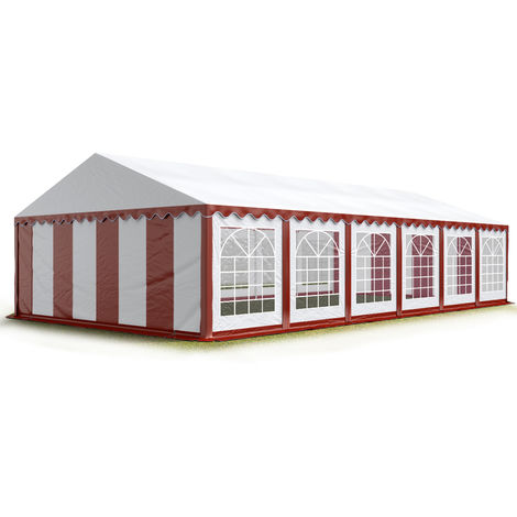 TOOLPORT 6x12 m Marquee Party Tent Heavy Duty 500g/m² PVC Waterproof Tarpaulin All Year Use Wedding Event red-white