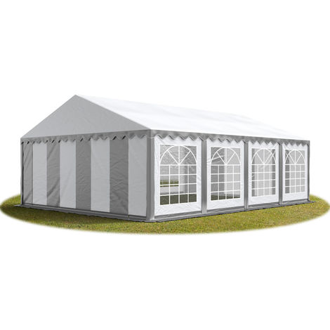TOOLPORT 6x8 m Marquee Party Tent Heavy Duty 500g/m² PVC Waterproof Tarpaulin All Year Use Wedding Event grey-white