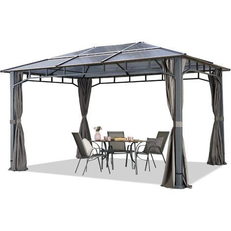 TOOLPORT ALU DELUXE Garden Gazebo 3x4m waterproof 8mm polycarbonate roof pavilion 4 side walls/panels Party Tent grey 9x9cm profile