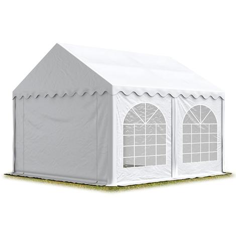 TOOLPORT Festzelt Partyzelt 3x5 m PREMIUM, hochwertige ca. 500g/m² PVC Plane in weiß 100% wasserdicht mit Bodenrahmen