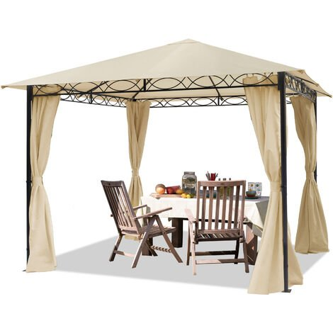 TOOLPORT Garden pavilion 3x3m waterproof pavilion with 4 side panels / curtains garden tent 180g/m² in beige roof tarpaulin Party Tent