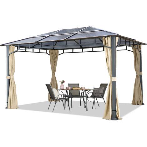 TOOLPORT Garden pavilion 3x4 m aluminium polycarbonate roof poles 8mm pavilion garden tent 4 sides champagne