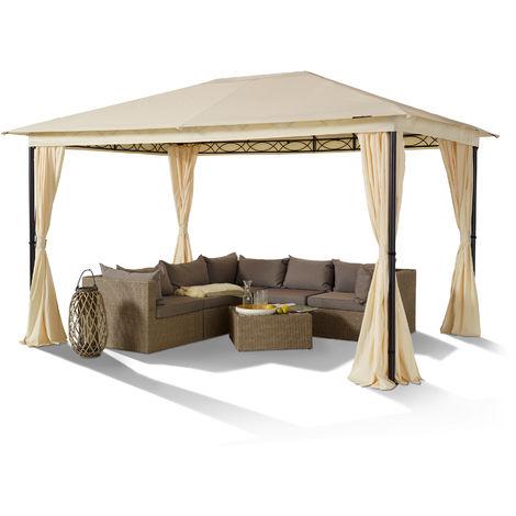 TOOLPORT Garden pavilion 3x4 m steel vintage 180 g/m² roof canvas valance waterproof garden tent 4 side parts champagne