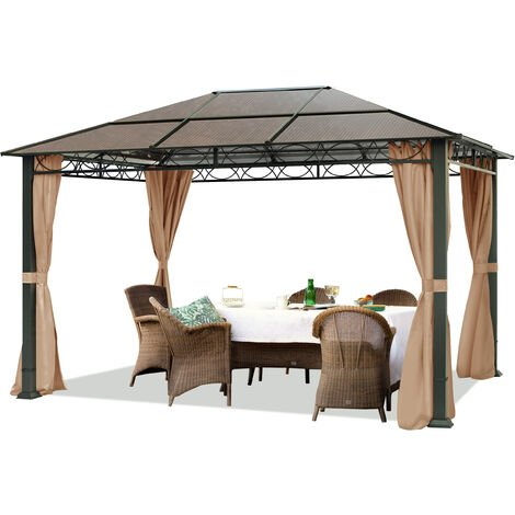TOOLPORT Garden pavilion 3x4 m waterproof ALU DELUXE gazebo with 4 sides Party tent in brown translucent PC roof