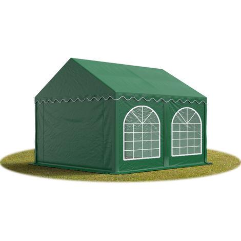 TOOLPORT Marquee 3x3 m Heavy Duty PVC with GROUNDBAR Party Wedding Tent Garden PREMIUM in darkgreen