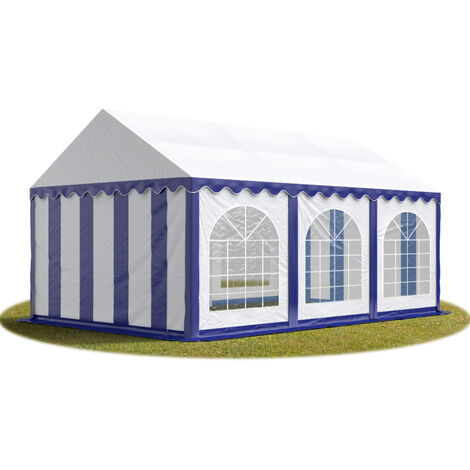 TOOLPORT Marquee 3x6 m Heavy Duty PVC with GROUNDBAR Party Wedding Tent Garden PREMIUM in blue-white