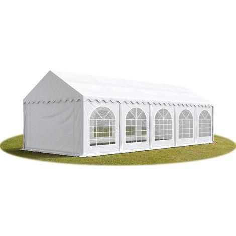 TOOLPORT Marquee 4x10 m Heavy Duty PVC with GROUNDBAR Party Wedding Tent Garden PREMIUM in white