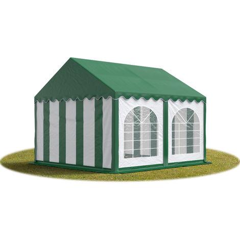 TOOLPORT Marquee 4x4 m Heavy Duty PVC with GROUNDBAR Party Wedding Tent Garden PREMIUM in green-white