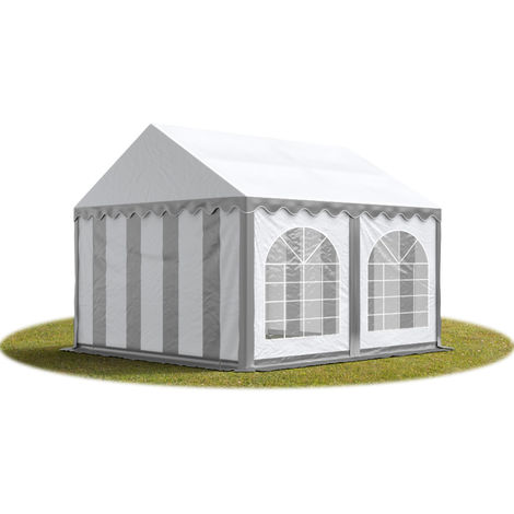 TOOLPORT Marquee 4x4 m Heavy Duty PVC with GROUNDBAR Party Wedding Tent Garden PREMIUM in grey-white