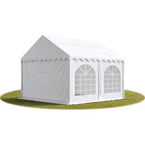 TOOLPORT Marquee 4x4 m Heavy Duty PVC with GROUNDBAR Party Wedding Tent Garden PREMIUM in white