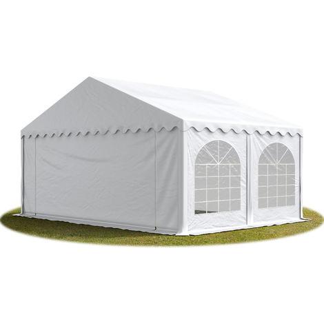 TOOLPORT Marquee 5x4 m Heavy Duty PVC with GROUNDBAR Party Wedding Tent Garden PREMIUM in white