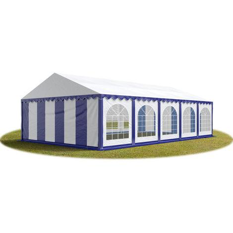 TOOLPORT Marquee 6x10 m Heavy Duty PVC with GROUNDBAR Party Wedding Tent Garden PREMIUM in blue-white
