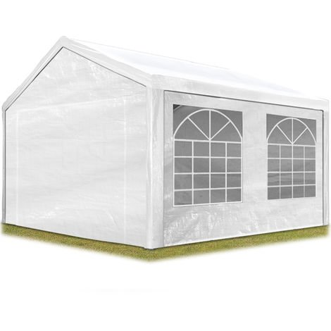 TOOLPORT Party Marquee 3x4 m in white 180 g/m² PE tarpaulin waterproof UV resistant Gazebo Garden Tent