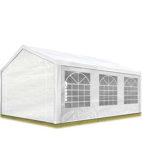 TOOLPORT Party Marquee 4x6 m in white 180 g/m² PE tarpaulin waterproof UV resistant Gazebo Garden Tent