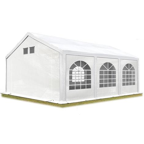 TOOLPORT Party Tent Marquee 4x6 m white PROFESSIONAL 300 g/m² PE waterproof tarpaulin UV-resistant with groundbar garden tent
