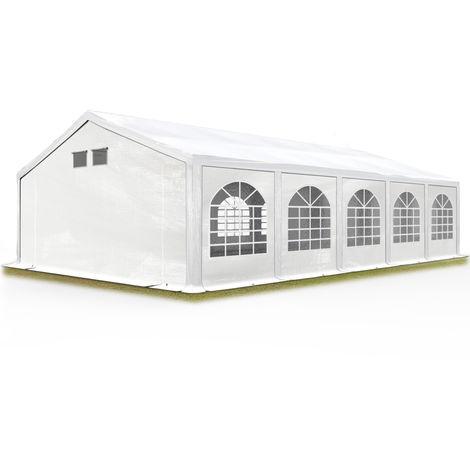 TOOLPORT Party Tent Marquee 5x10 m white PROFESSIONAL 300 g/m² PE waterproof tarpaulin UV-resistant with groundbar garden tent