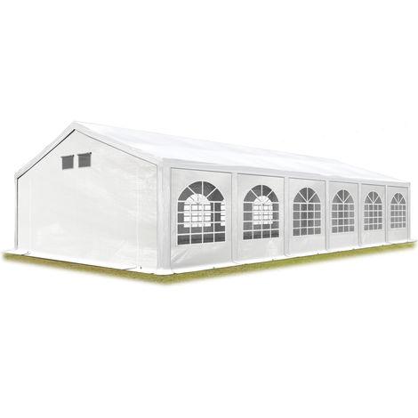 TOOLPORT Party Tent Marquee 6x12 m white PROFESSIONAL 300 g/m² PE waterproof tarpaulin UV-resistant with groundbar garden tent