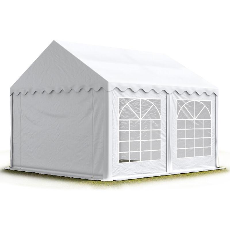 Profizelt24 - TOOLPORT Party-Zelt Festzelt 4x5 m Garten-Pavillon -Zelt ca. 500g/m² PVC Plane in weiß Wasserdicht