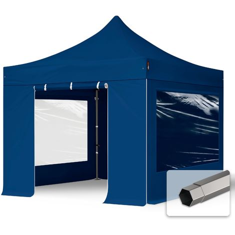 TOOLPORT PopUp Gazebo Party Tent 3x3m - with panorama windows PROFESSIONAL 100% waterproof roof marquee blue