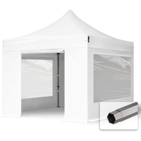 TOOLPORT PopUp Gazebo Party Tent 3x3m - with panorama windows PROFESSIONAL 100% waterproof roof marquee white
