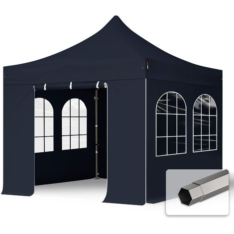 TOOLPORT PopUp Gazebo Party Tent 3x3m - with windows PROFESSIONAL 100% waterproof roof marquee black