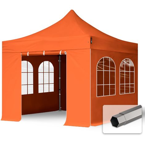 TOOLPORT PopUp Gazebo Party Tent 3x3m - with windows PROFESSIONAL 100% waterproof roof marquee orange