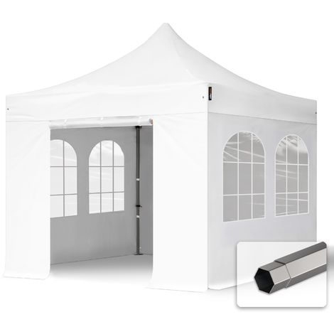 TOOLPORT PopUp Gazebo Party Tent 3x3m - with windows PROFESSIONAL 100% waterproof roof marquee white