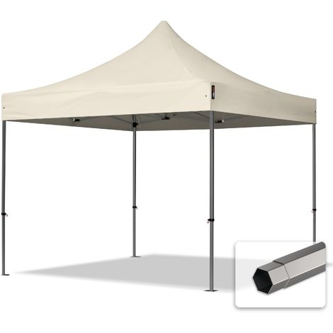 TOOLPORT PopUp Gazebo Party Tent 3x3m - without side panels PROFESSIONAL 100% waterproof roof marquee cream