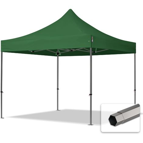 TOOLPORT PopUp Gazebo Party Tent 3x3m - without side panels PROFESSIONAL 100% waterproof roof marquee dark green