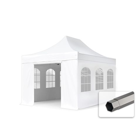 TOOLPORT PopUp Gazebo Party Tent 3x4,5m - with panorama windows PROFESSIONAL 100% waterproof roof marquee white